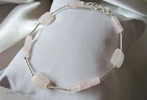 Baby Pink Rose Quartz Faceted Oblongs & Small Tubes Sterling Silver Bracelet